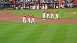 """Singing of """"Star Spangled Banner"""" at Oriole Park at Camden Yards vs White Sox"""