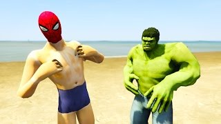 SPIDERMAN NAKED! Lost costume, Hulk Prank, Funny cartoon for kids with superheroes