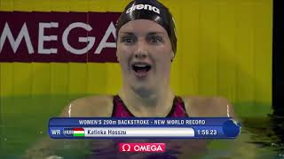 SWIMMING WORLD RECORDS (25) 200m backstroke 1:59.23, Katinka Hosszú