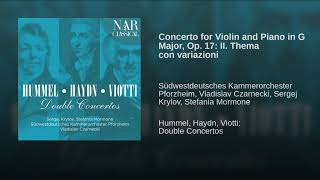 Concerto for Violin and Piano in G Major, Op. 17: II. Thema con variazioni