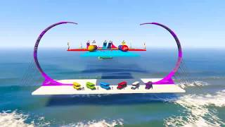 Color Cars and Super track in the Sky - Spiderman Cartoon w Nursery Rhymes Songs - Videos for Kids