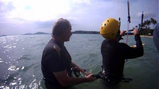 phuket Kitesurfing lesson: waterstart getting up on a kiteboard