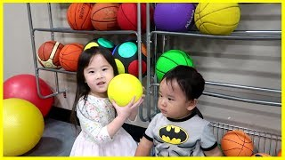 Yuna and Finn Having Fun at a Basketball Court for Kids