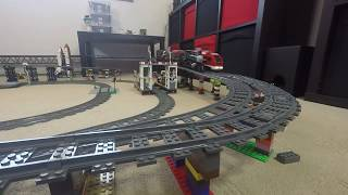 Train Track LEGO, Passenger, Cargo and Steam Trains, with Slopes and Bridges