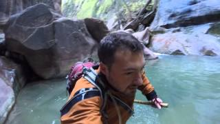Running down the Narrows at Zion
