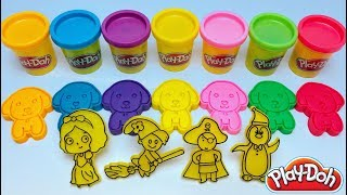Learn Colors  With Play Doh Dogs, 3D Printed Molds, Pirate, Penguin, Crocodile, devil, snow white