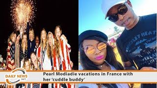 Pearl Modiadie vacations in France with her 'cuddle buddy'