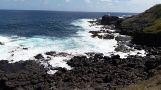 Mauritius Benares Waves breaking on Lava Rock and Cliffs