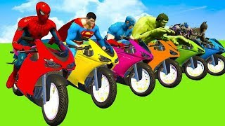 MotorCycles COLOR for Children Spiderman Cars Cartoon Cycles w Street Vehicles