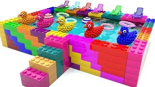 Learn Colors with Rainbow Pool Lego and Balls Duck