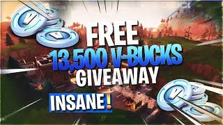 FREE 13,500 V-BUCKS GIVEAWAY IN (FORTNITE BATTLE ROYALE)