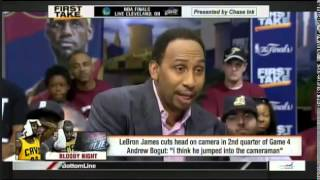 ESPN First Take - Andrew Bogut Says LeBron James Jumped into Cameraman | June 12, 2015