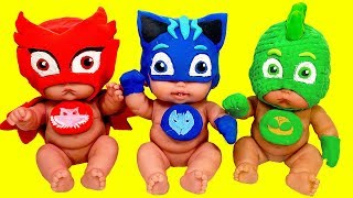 Play Doh Making PJ Masks Colorful Costumes With Modelling Clay