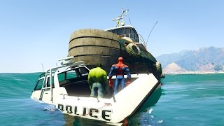 VENOM Crushes POLICE SPIDERMAN and HULK on BIG BOAT! Cartoon for kids and children