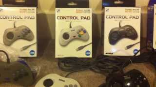 A complete collection of SLS Sega Saturn USB Control Pads (plus knock-off controllers)