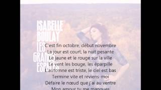 Isabelle Boulay - Fin octobre, début novembre (avec paroles)