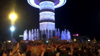 Macedonia celebrates the win against Lithuania 14.09.2011