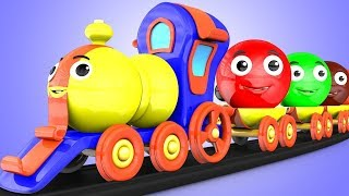 Colors for Children to Learn with Little Spuds Smiley Faces Wooden Toy Train for Kids Learning Video